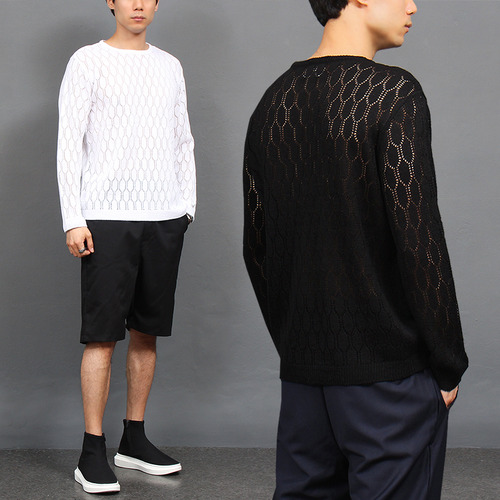 See Through Honeycomb Pattern Knit Tee