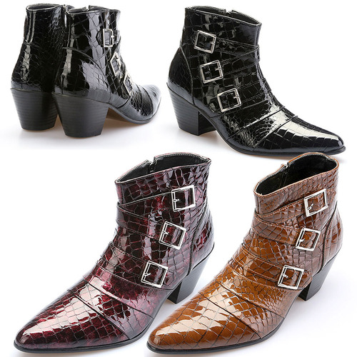 7cm High Heel Buckle Patent Crocodile Pattern Ankle Boots 5044