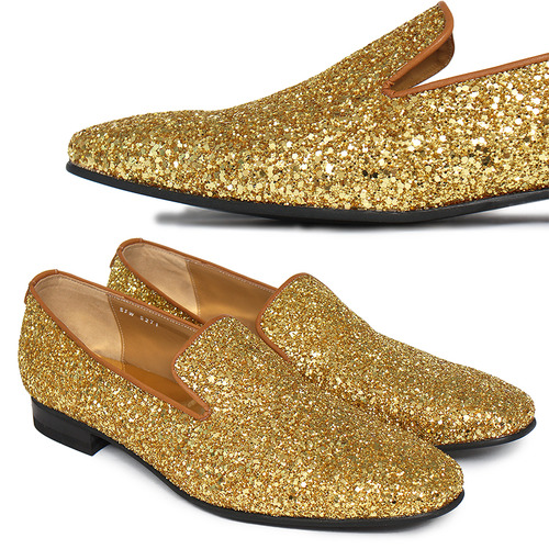Gold Crystal Glitter Encrusted Loafers Slip Ons Handmade-R5271