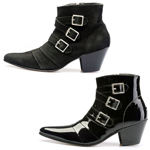 High Heel Buckle Black Patent / Black Suede Ankle Boots 5044