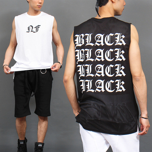 Logo Printing See Through Mesh Sleeveless Tee