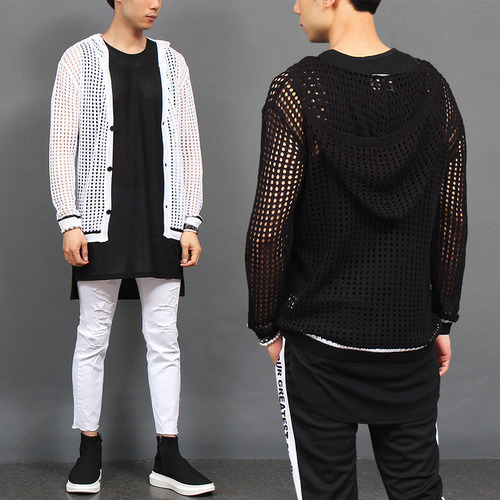 See Through Summer Mesh Hood Knit Cardigan