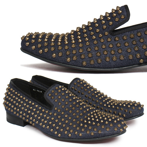 Gold Studs Denim Loafers Slip-On HANDMADE-5210