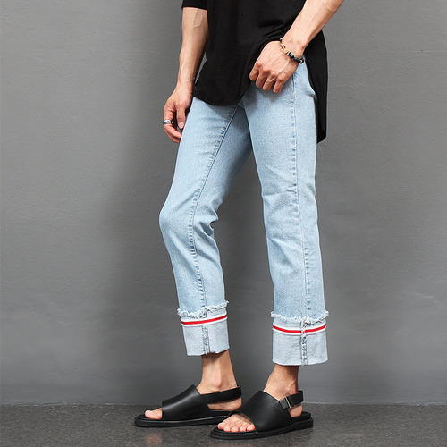 Fold Up Red Tape Light Blue Jeans 2175