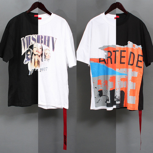 Loose Fit Graphic Printing Strap T Shirt 115