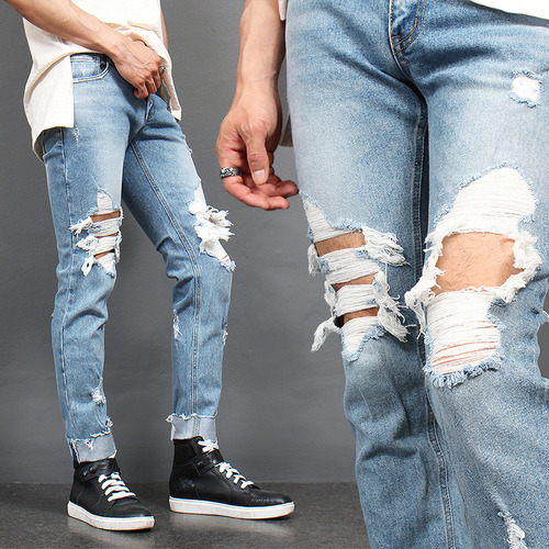Heavy Distressed Destroyed Light Blue Slim Jeans 3535