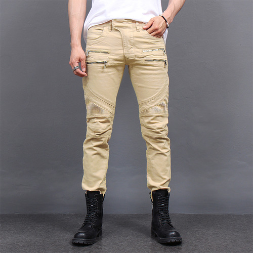 Double Zipper Biker Ribbed Paneling Beige Pants