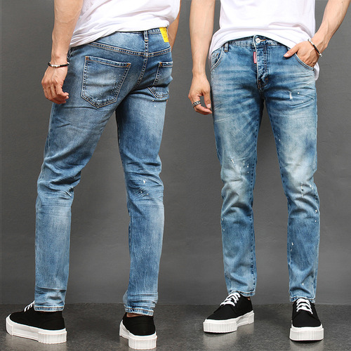 Spattered Painting Faded Wash Slim Blue Jeans