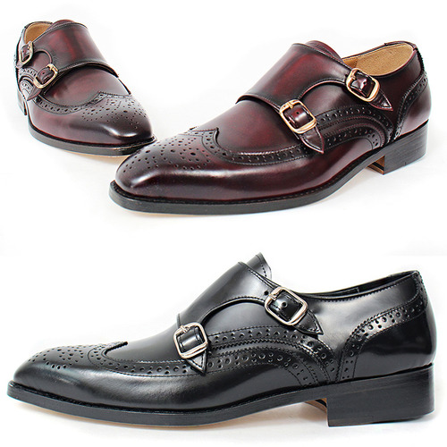 Handmade Leather Perforation Wingtip Monk Strap Oxfords 5423
