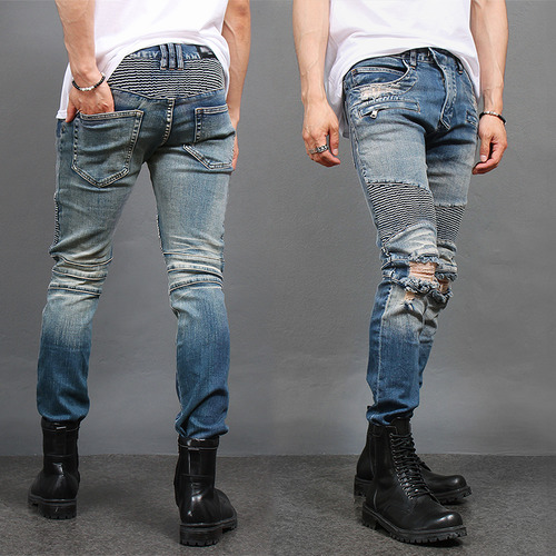 Knee Ripped Destroyed Zipper Pocket Biker Slim Jeans