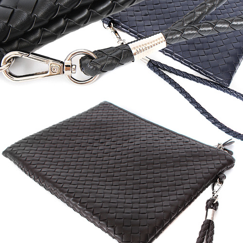 Weave Pattern Faux Leather Clutch Bag