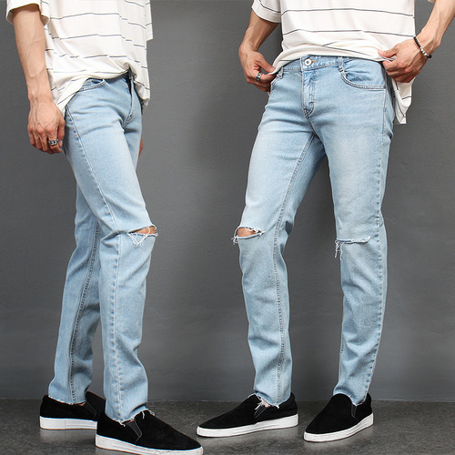 Knee Cutting Cut Off Light Blue Jeans 3551