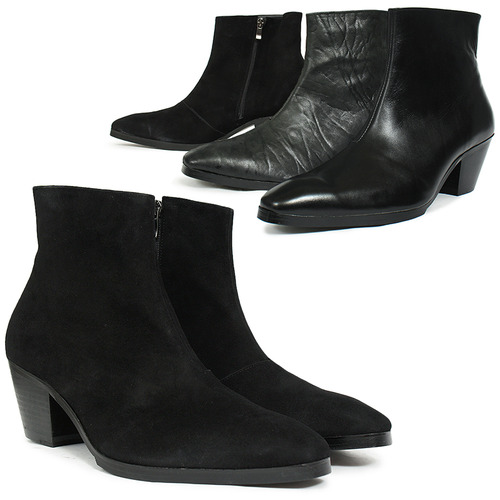Handmade 7cm Kill Heel Black Leather Ankle Boots 5087