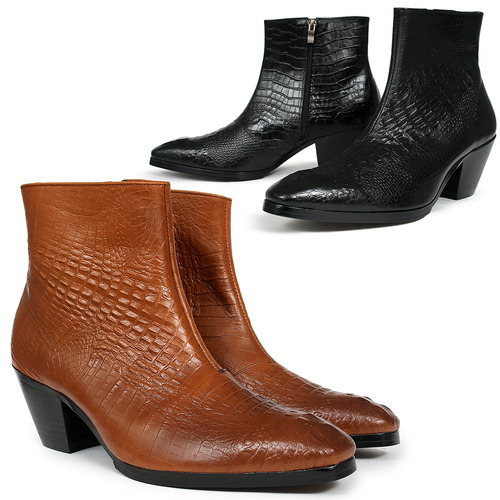 Handmade 7 Cm Kill Heel Crocodile Pattern Leather Ankle Boots 5087