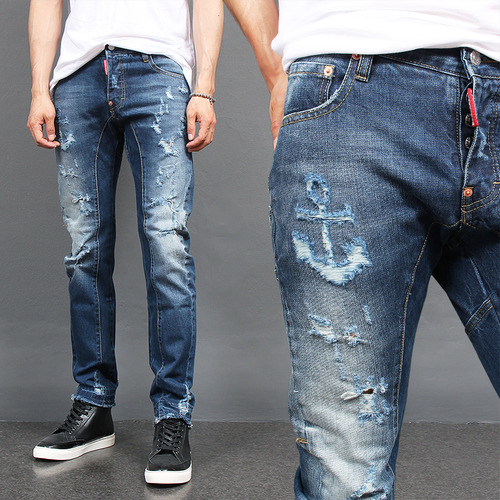 Vintage Faded Distressed Raw Hem Biker Jeans