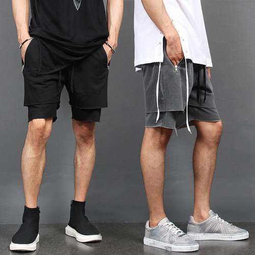 Double Layered Cut Off Zipper Pocket Short Sweatpants