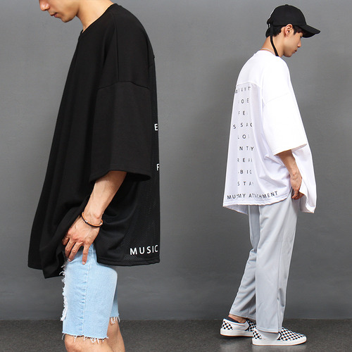 Mesh Back Over Loose Fit Logo Printing Boxy Tee