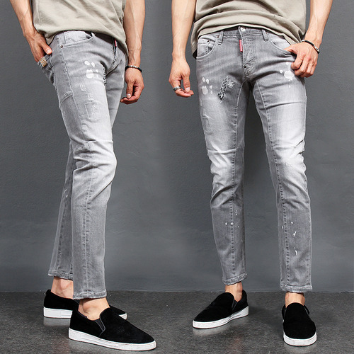 Faded Gray Distressed Slim Biker Jeans