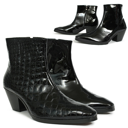 Handmade 7 Cm Kill Heel Patent Leather Ankle Boots 5087