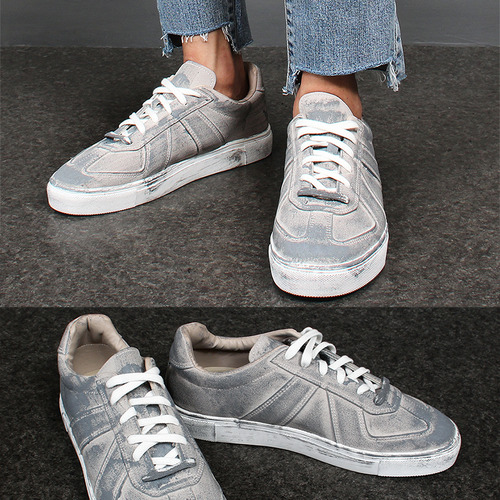 Vintage Gray Hand Painted Lace Up Sneakers 753