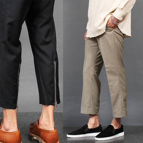 Back Zippered Hem Slacks Pants