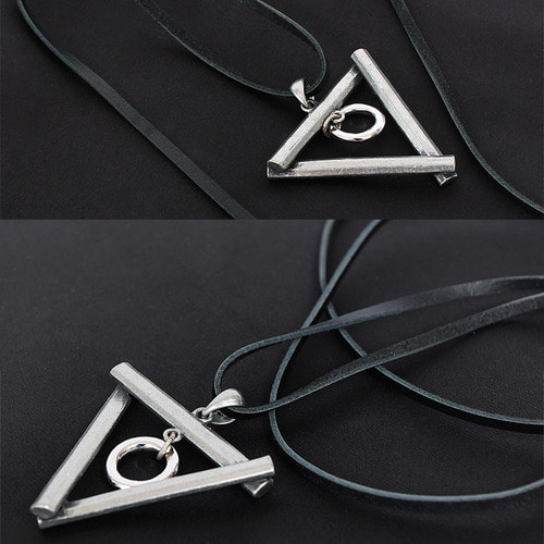 Steel Triangle Circle Leather Strap Necklace N68