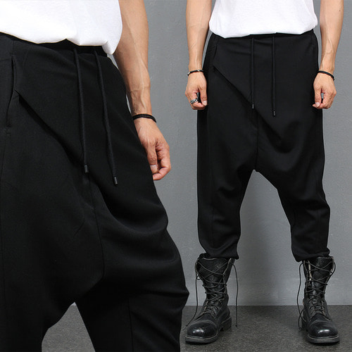 Avant garde Diagonal Unbalanced Layer Drop Crotch Wide Pants