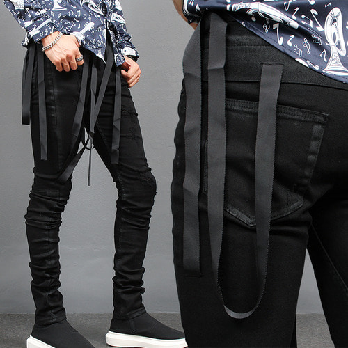 Strap Draped Vintage Wax Coated Black Skinny Jeans