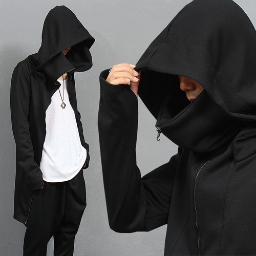 Handwarmer Double Zipper Long Zip Up Hoodie