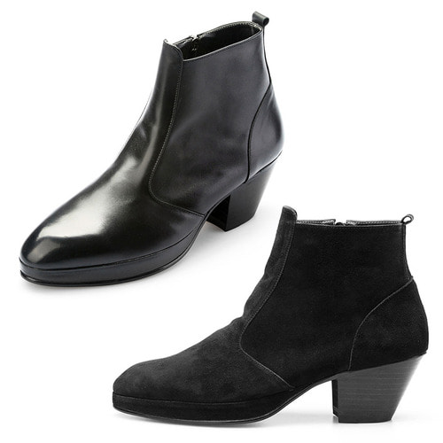 7 Cm Kill Heel Black Leather Ankle Boots 5046