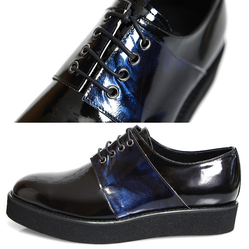 Handmade Mixed Blue Patent Leather Minimal Derby Creepers 1072