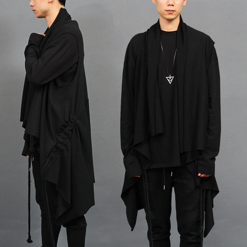 Constrast Shawl Collar Drawstring Long Vest
