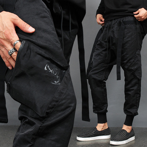 Low Crotch Buckle Zipper Cargo Pocket Jogger Pants
