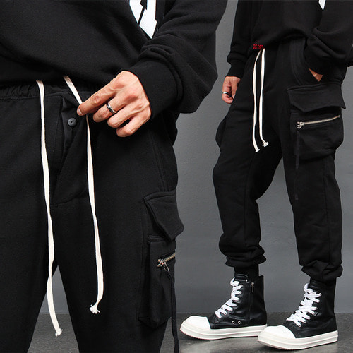 Zipper Cargo Big Flap Pocket Jogger Pants