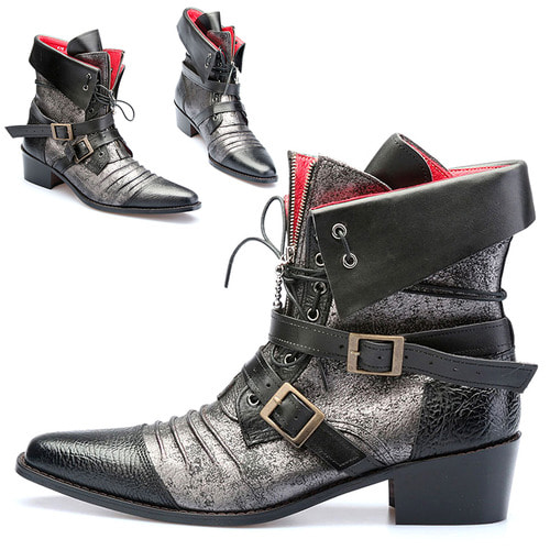 Vampire Silver Coated Buckle Styling Ankle Boots 2101