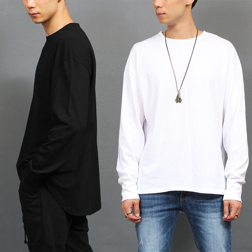 Loose Fit Unbalanced Long Back Hem Cotton Tee