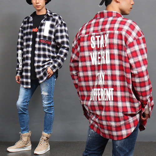Loose Fit Checkered Pattern Graphic Printing Shirt
