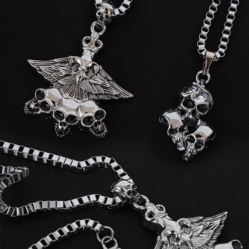 Triple Skull Steel Pendant Chain Necklace N71