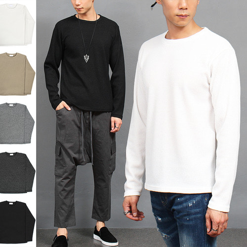 Standard Fit Basic Waffle Stretchable Tee