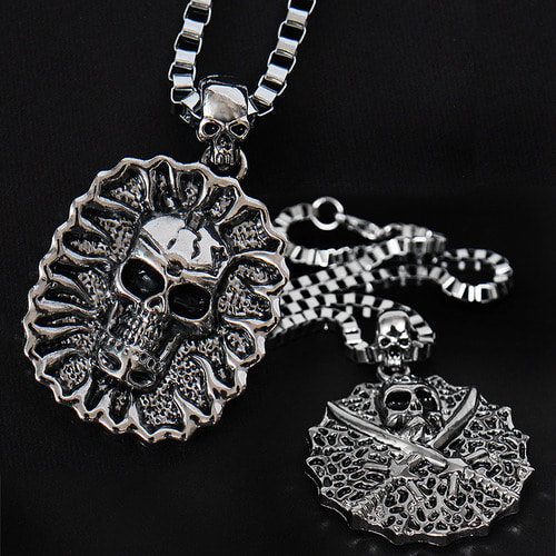 Round Skull Panel Chain Necklace N72