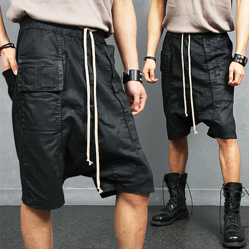 Drop Crotch Coated Black Half Baggy Sweatpants