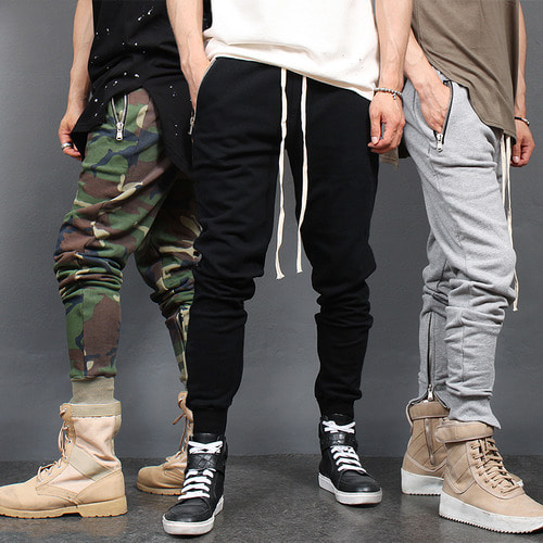 Zipper Pocket hem Slim Jogger Sweatpants