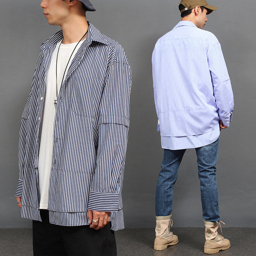 Double Layered Styling Striped Blue Shirt