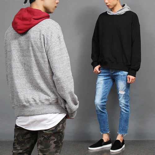 Loose Fit Contrast Color Hoodie