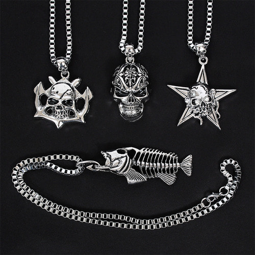 Skull Steel Pendant Chain Necklace N73