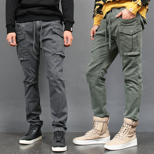 Waistband Big Cargo Pocket Stretchable Pants