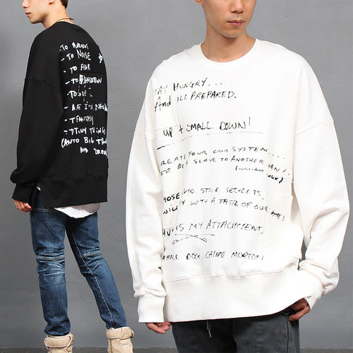 Hand Writing Note Printing Split Side Boxy Sweatshirt