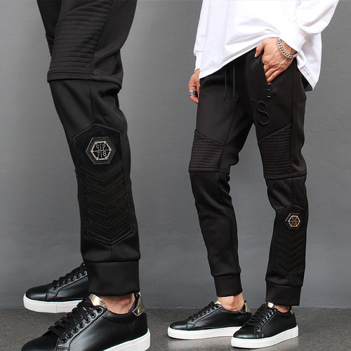 Seaming Panel Zipper Pocket Biker Jersey Jogger Pants