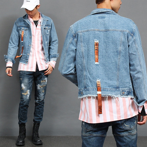 Logo Strap Vintage Distressed Blue Denim Jacket