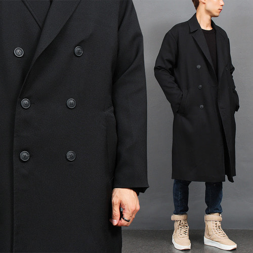 Loose Fit Double Breasted Button Black Long Coat